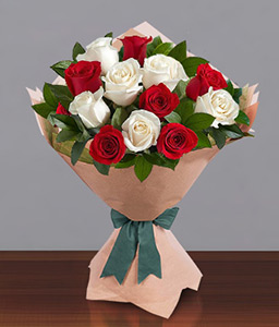 Christmas Roses-Red,White,Rose,Bouquet