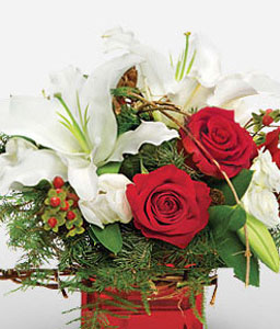 Crimson Cheer-Red,White,Lily,Rose,Arrangement