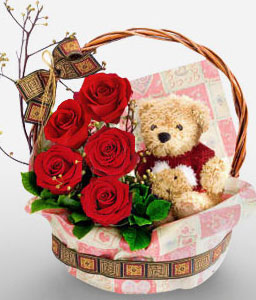 Basket Of Surprises-Red,Teddy,Rose,Chocolate,Basket