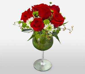 Royal Glory-Green,Red,Orchid,Rose,Arrangement