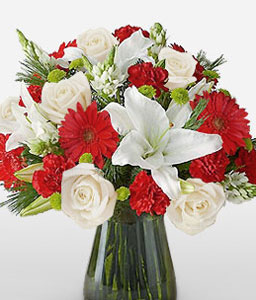Opulent-Red,White,Gerbera,Lily,Mixed Flower,Rose,Arrangement