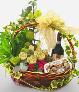 Warm Fiesta-White,Chocolate,Rose,Wine,Basket