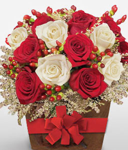 Charming Affluence - 18 Red & White Roses-Red,White,Rose,Arrangement