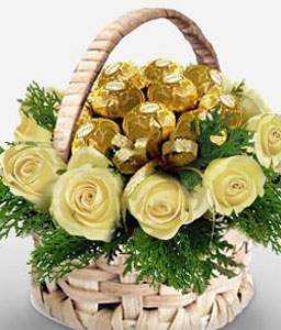 Roses And Chocolicious Wishes-White,Chocolate,Rose,Basket