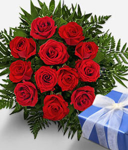 Pure Affluence - Roses & Chocolates-Red,Chocolate,Rose,Bouquet