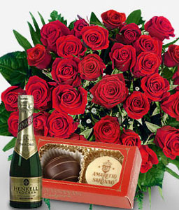 Debonair Collection-Red,Chocolate,Rose,Wine,Arrangement,Bouquet,Hamper