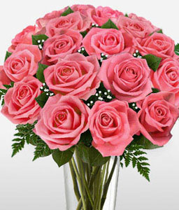 Long Stem Pink Roses-Pink,Rose,Bouquet