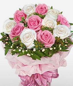 Dawn Of Love-Pink,White,Rose,Bouquet