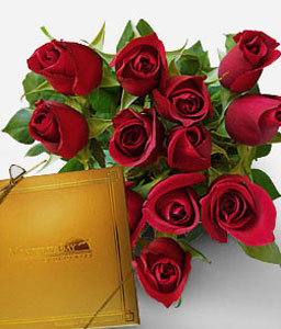 Expressions Of Love-Red,Chocolate,Rose,Bouquet