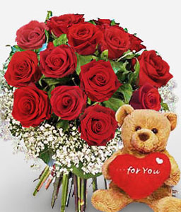 Blushing Love-Red,Rose,Teddy,Bouquet
