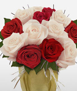 Red And White Roses-Red,White,Rose,Bouquet
