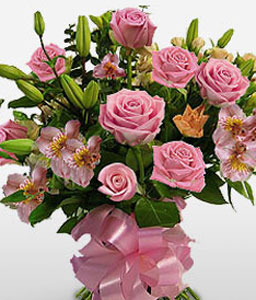 Rose And Lily Bouquet-Pink,Rose,Mixed Flower,Lily,Alstroemeria,Bouquet