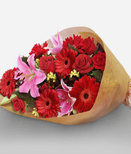 Scarlet Passion - Mixed Flowers In Red-Red,Gerbera,Mixed Flower,Rose,Bouquet