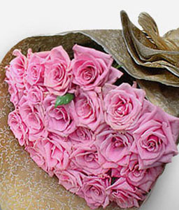 Enchanted <Br><Font Color=Red>24 Pink Roses</Font>