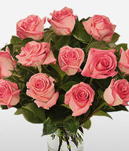 Passion - 12 Pink Roses-Pink,Rose,Bouquet