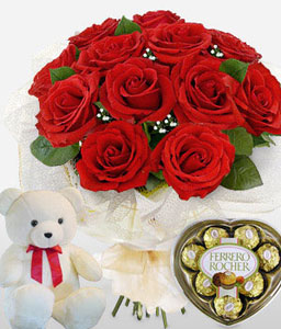 Trio Amor-Red,Chocolate,Rose,Teddy,Bouquet,Hamper