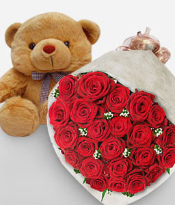 Abracos E Beijos - 2 Dozen Roses + Teddy-Red,Rose,Teddy,Bouquet