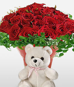 Rosy Hugs-Red,Rose,Teddy,Arrangement