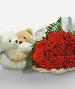 Double Delight-Red,Rose,Teddy,Bouquet