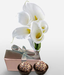 Swiss Perfection-White,Chocolate,Lily,Bouquet