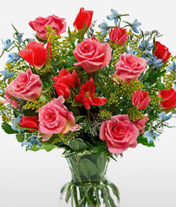 Mixed Flowers Bouquet-Pink,Red,Mixed Flower,Rose,Bouquet