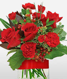 Christmas Flowers-Red,Carnation,Rose,Arrangement