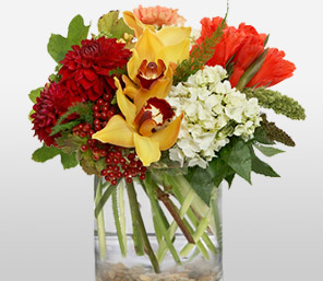 South Beach-Mixed,Red,White,Yellow,Dahlia,Mixed Flower,Orchid,Arrangement