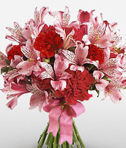 Milano-Pink,Red,Carnation,Mixed Flower,Bouquet