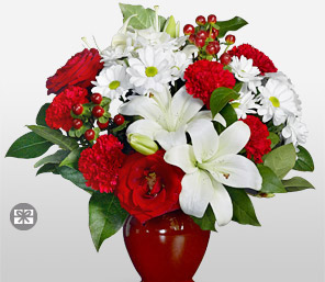 Exotic Splendor-Red,White,Carnation,Daisy,Lily,Mixed Flower,Rose,Arrangement