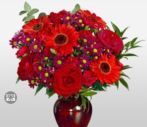 Red Heat-Red,Gerbera,Daisy,Carnation,Mixed Flower,Rose,Arrangement