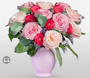 Somewhere In Time - Rose Arrangement-Mixed,Peach,Pink,Purple,Red,Rose,Arrangement