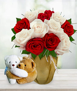 Care Bears-Red,White,Rose,Teddy,Arrangement,Hamper