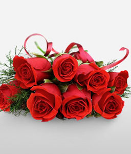 8 Rubies-Red,Rose,Bouquet