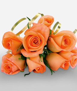 8 Orange Roses-Orange,Rose,Bouquet
