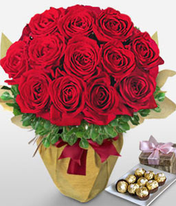 Cabaret-Red,Chocolate,Rose,Arrangement,Hamper
