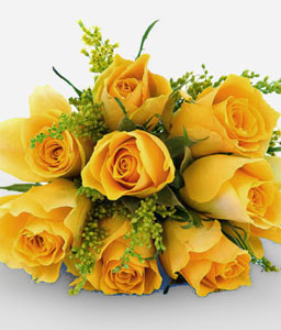 Golden Crown-Yellow,Rose,Bouquet