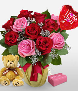 Sinful Surprise-Pink,Red,Rose,Teddy,Arrangement,Hamper