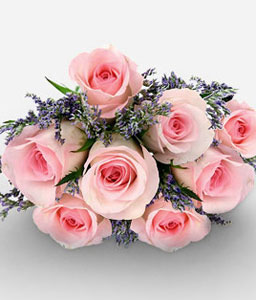 Stunning Beauty 8 Pink Roses-Pink,Rose,Bouquet
