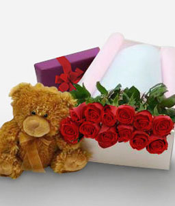 Bear Hugs-Red,Chocolate,Rose,Teddy,Hamper