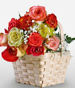 Rainbow Roses In Basket-Mixed,Pink,Red,Yellow,Rose,Arrangement,Basket