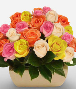 Majestic Myriad-Mixed,Orange,Pink,Red,Yellow,Rose,Arrangement
