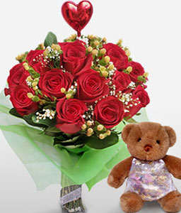 Majestic - Red Roses, Teddy & Balloon-Red,Balloons,Chocolate,Rose,Teddy,Bouquet