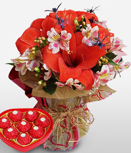 Modern Masterpiece-Red,Chocolate,Mixed Flower,Bouquet