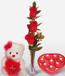 Sensational Splendor-Red,Chocolate,Rose,Teddy,Arrangement