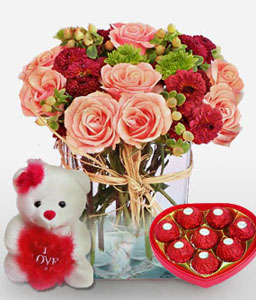 Dignified Desire - Flowers, Teddy & Chocolates-Green,Mixed,Pink,Red,Teddy,Rose,Chocolate,Arrangement