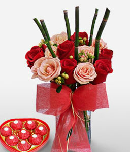 Royal Romance-Pink,Red,Chocolate,Rose,Arrangement