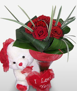 Hearts Desire-Red,Rose,Teddy,Bouquet
