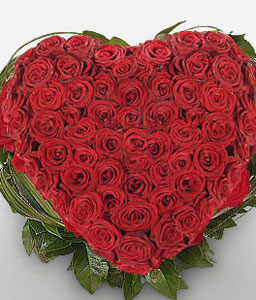 Heavenly Bliss - 2 Dozen Red Roses Heart-Red,Rose,Arrangement