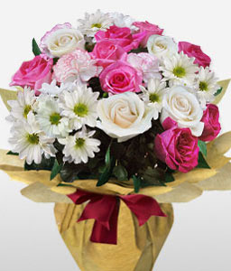 Regal Charms-Pink,White,Carnation,Chrysanthemum,Mixed Flower,Rose,Arrangement