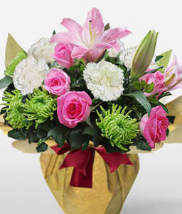 Think Pink-Green,Pink,White,Carnation,Lily,Rose,Arrangement